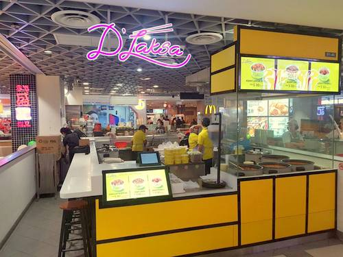 D'Laksa Malaysian takeaway restaurant at Compass One mall in Singapore.