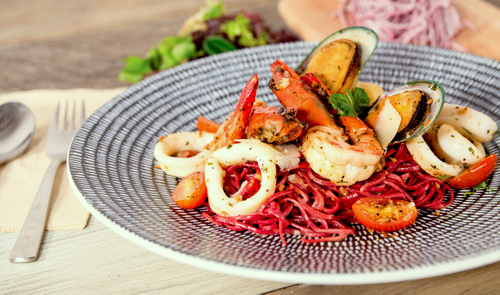 Mahota Kitchen restaurant's Beetroot Aglio Olio meal, available in Singapore.