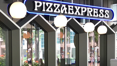 PizzaExpress restaurant at Duo Galleria mall in Singapore.