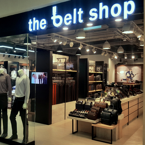 The Belt Shop store at Compass One mall in Singapore.