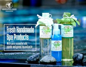Lemongrass House spa products, available in Singapore.