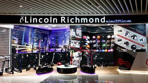 Lincoln Richmond Electric USA scooter shop in Singapore.
