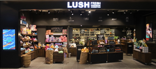 LUSH cosmetics shop at Raffles City mall in Singapore.