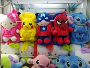 OFUN game arcade's soft toy prizes from claw machines in Singapore.