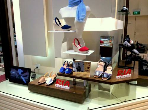 RIA Menorca shoe shop at Isetan Scotts department store in Singapore.