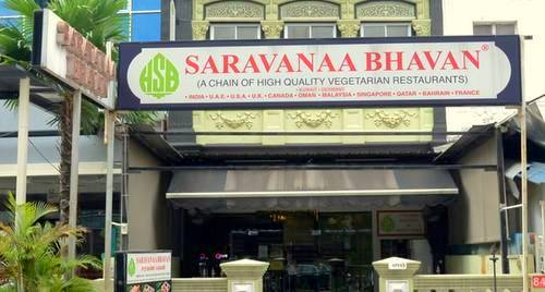 Saravanaa Bhavan Indian restaurant at 84 Syed Alwi Road in Singapore.