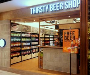 Thirsty Beer Shop at Anchorpoint shopping centre in Singapore.