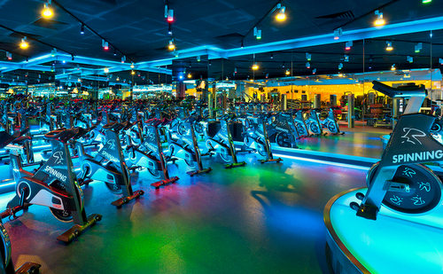 True Fitness spinning aerobics studio in Singapore.