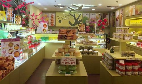 Durian Mpire bakery shop at Changi Airport in Singapore.