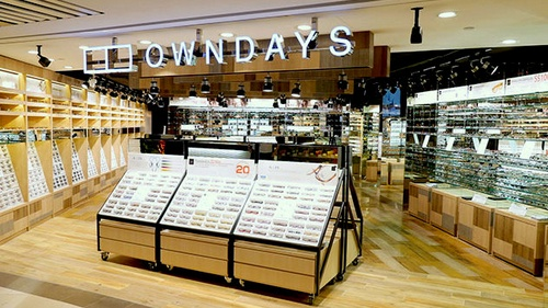 Owndays optical shop at Raffles City mall in Singapore.