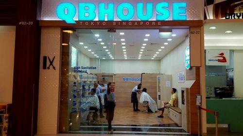 QB House hair salon at VivoCity mall in Singapore.
