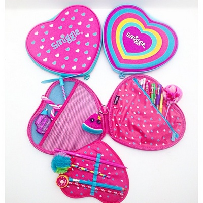 Smiggle hearth shaped hardtop pencil cases in Singapore.