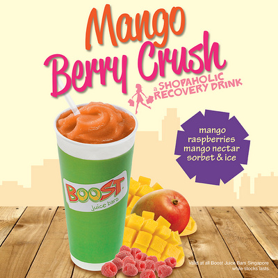 Mango Berry Crush smoothie drink at Boost Juice Bars Singapore.