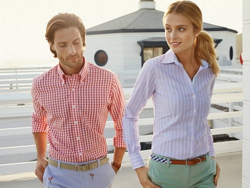 Brooks Brothers women's and men's clothing.