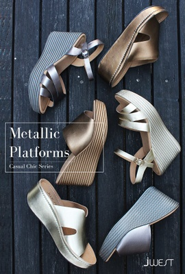 JWest metallic platform shoes.