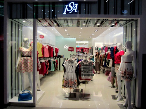 ISA clothing store NEX Singapore.