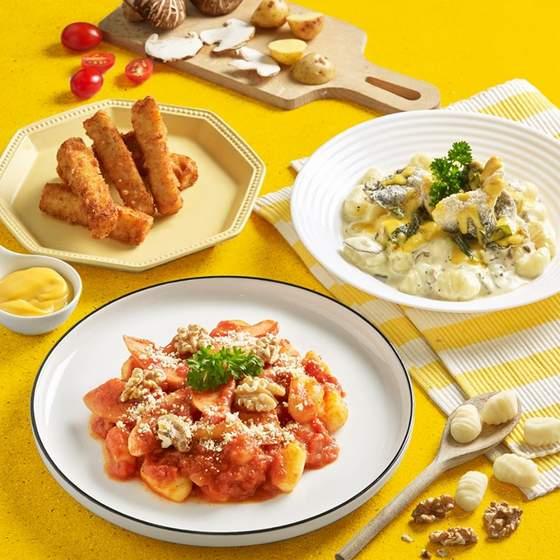 Tomato Gnocchi, Creamy Gnocchi and Cheesy Fish Fingers.