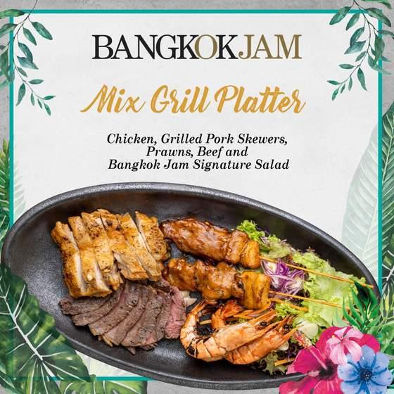 Thai Mix Grill Platter.