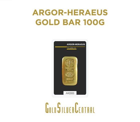 Argor-Heraeus Gold Bar 100g - Buy Gold Coin Singapore - GoldSilver Central.