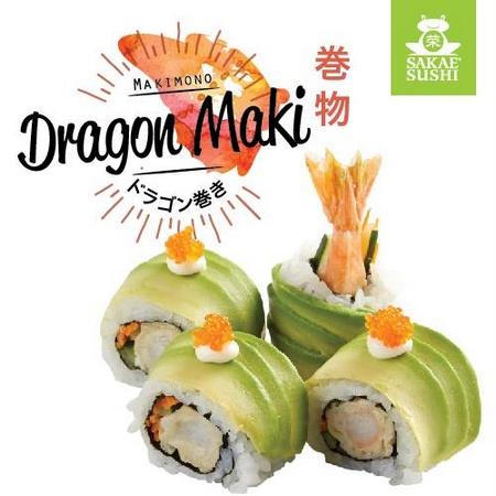 Sakae Sushi restaurant's Dragon Maki sushi Singapore.