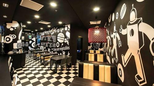 The Burger Bar restaurant interiors Marina Link Singapore.