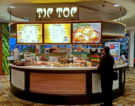 Tip Top Curry Puff shop Changi Airport Singapore.