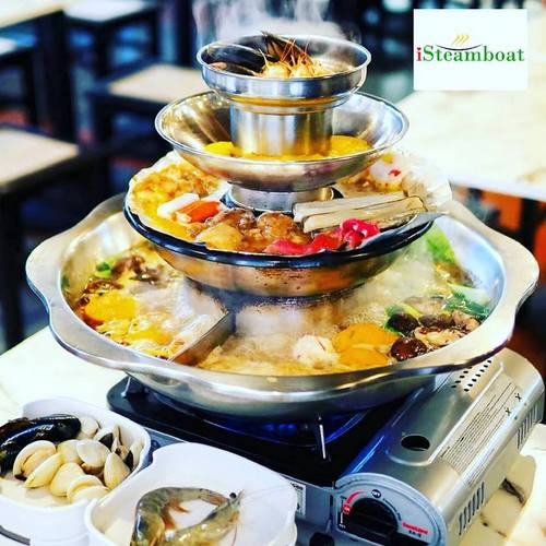 iSteamboat Chinese Restaurant's 4-tier Pagoda Buffet meal.