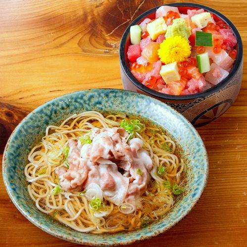 Tampopo Grand's Kurobuta Hot Soba and Mini Chirashi meal, available in Singapore.