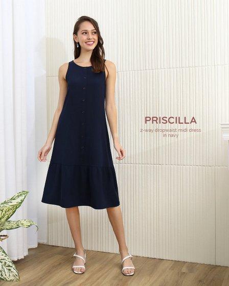 Priscilla 2-Way Dropwaist Midi Dress - Women's Clothing in Singapore - The Stage Walk.