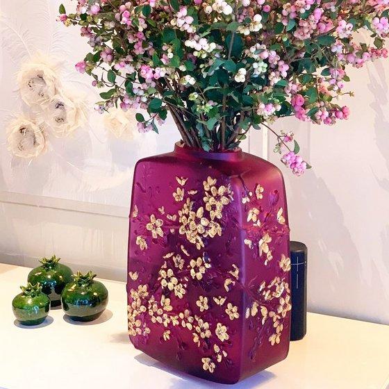 Lalique Fleurs de Cerisier Vase - Crystal Vases in Singapore.