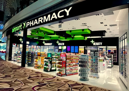 Airport Pharmacy at Changi Airport in Singapore.