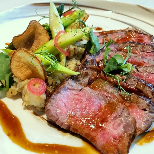 ElFuego restaurant's Charcoal Grilled Australian Wagyu Bavette Steak, available in Singapore.
