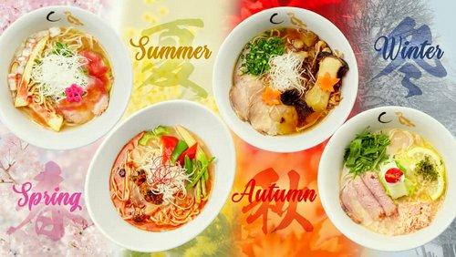 Konjiki Hototogitsu Japanese restaurant's Four Seasons ramen dishes, available in Singapore.