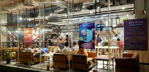 The AutoBus cafe-restaurant at OUE Downtown Gallery shopping centre in Singapore.