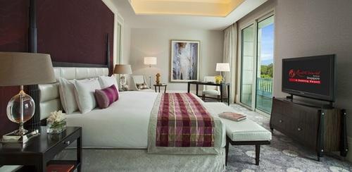 2 Bedroom Deluxe Premium Suite Master Bedroom at Hotel Michael in Singapore.