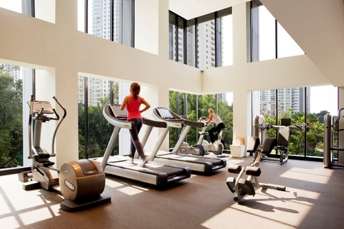 24-hour gym at 8 Claymore Serviced Residences in Singapore.
