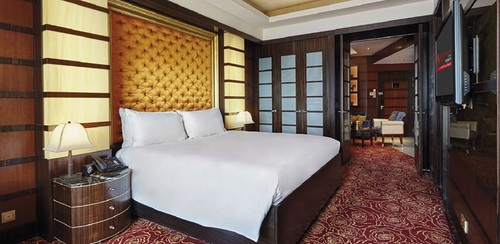 Deluxe King Suite Crockfords Tower hotel in Singapore.