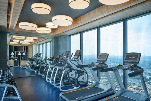 Fitness centre at Courtyard by Marriott Singapore Novena hotel.