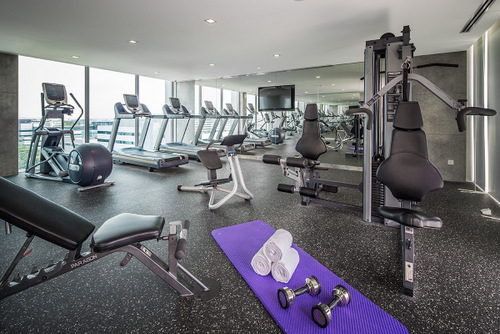 Fitness centre at Park Avenue Changi hotel in Singapore.
