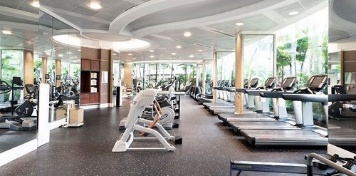 Fitness centre at Shangri-La Hotel Singapore.