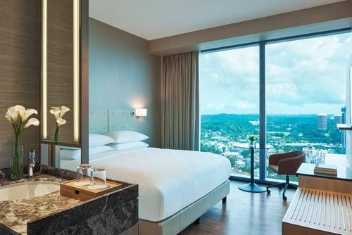 Guest room at Courtyard by Marriott Singapore Novena hotel.