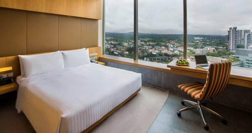 Guest room at Oasia Hotel Novena Singapore.