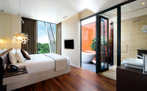 Guest room at ST Residences Novena in Singapore.