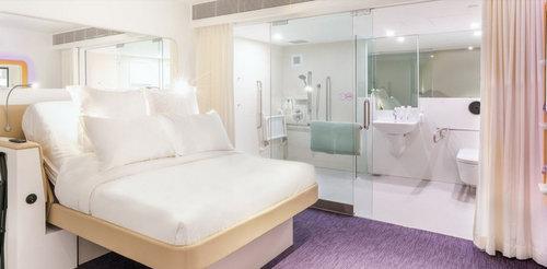 Guest room at YOTELAIR Singapore Changi Airport.