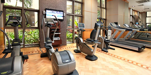 Fitness centre at Orchard Parksuites aparthotel in Singapore.