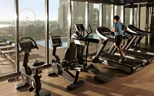 Pan Pacific Serviced Suites Beach Road fitness centre in Singapore.