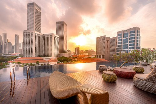 Rooftop infinity pool at Naumi Hotel in Singapore.