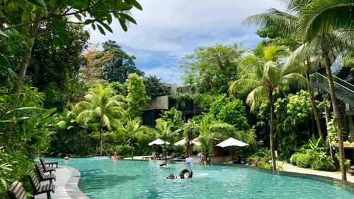 Spring Water Stream landscaped pool at Siloso Beach Resort, Sentosa Singapore.