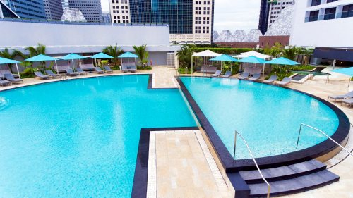 Swimming pool at Pan Pacific Singapore hotel.