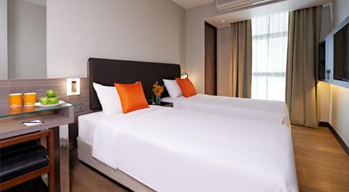 Deluxe room at Aqueen Hotel Jalan Besar in Singapore.